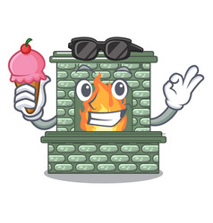 with ice cream cartoon a fireplace in the house vector image