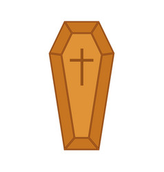 With wooden coffin vector