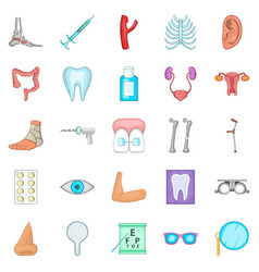 women health icons set cartoon style vector image