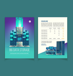 brochure with data storage services vector image