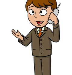 Cartoon businessman talking cell phone vector image