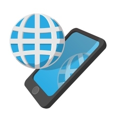 Smartphone with globe cartoon icon vector image vector image