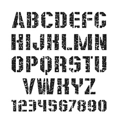 Stencil plate font and numeral vector image vector image