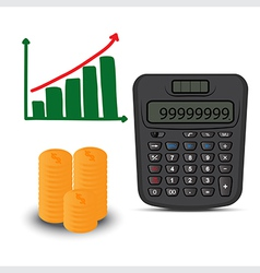 calculator and business graph vector image