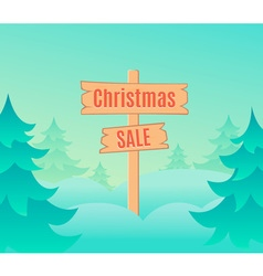 Christmas sale design template with signboard vector image vector image