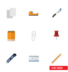 flat icon tool set of knife sticky fastener page vector image vector image