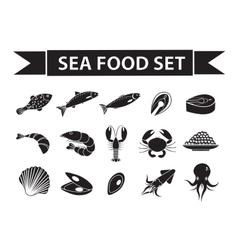 Sea food icons set silhouette shadow vector image vector image