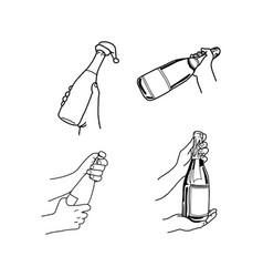 set hand holding champagne bottle vector image vector image