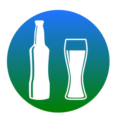 beer bottle sign white icon in bluish vector image vector image