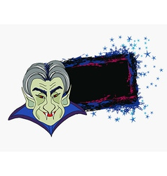 Cartoon Count Dracula grunge Halloween frame vector image