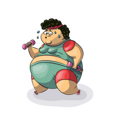 fat woman goes in for sports vector image