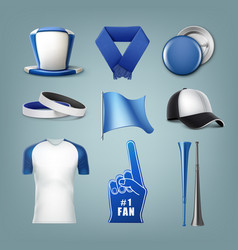 set of fans acessories vector image vector image