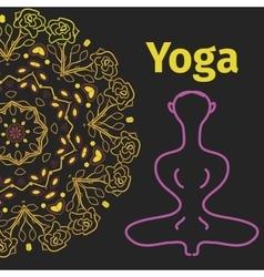 yoga banner pose with mandala background vector image
