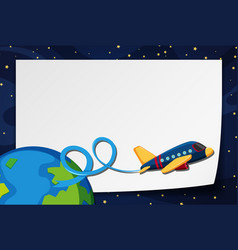 border template with airplane flying in space vector image