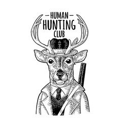 deer hunter hunting club lettering vintage black vector image