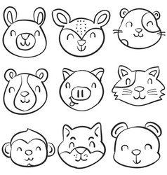 doodle of animal cute funny style vector image