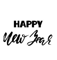 happy new year inscription for greeting card dry vector image vector image