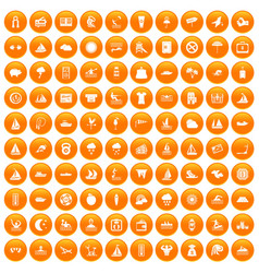 100 water sport icons set orange vector