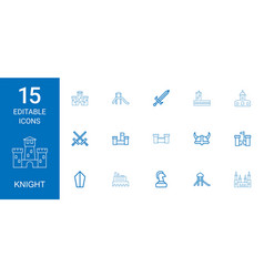 15 knight icons vector
