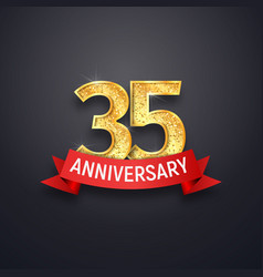 35th anniversary logo template thirty-five years vector image