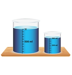 A small and big laboratory beaker vector