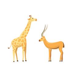 african animals cartoon set antelope and vector image