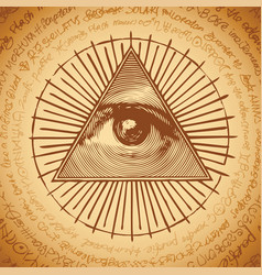 All-seeing eye god sign in triangle pyramid vector