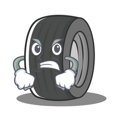 Angry tire character cartoon style vector