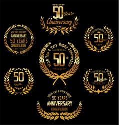 anniversary golden laurel wreath 50 years vector image