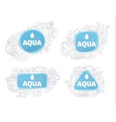 Aqua logos and emblems vector