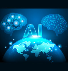 artificial intelligence robot brain and world map vector image
