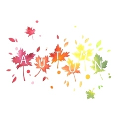 autumn lettering with motley leaves watercolor vector image