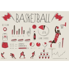 basketball inforgrapic vector image vector image