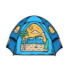 Beach inside my tent vector