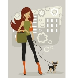 Beautiful woman with toy terrier vector
