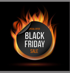 black friday sale fire label vector image