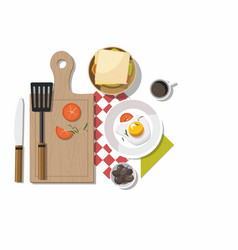 breakfast table with healthy tasty ingredients vector image