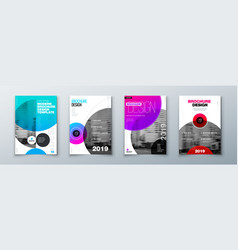 bright circle brochure cover design template vector image