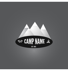 Camping logo Mountain bonfire and crossed axes vector