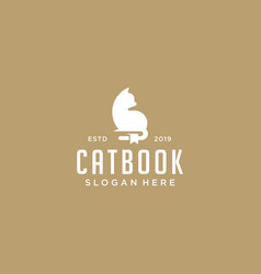 cat book logo design download vector image