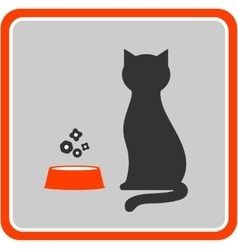 Cat silhouette and feed icon in frame vector