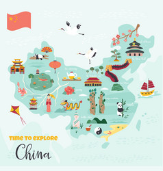 Chinese cartoon map with destinations symbols vector