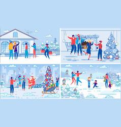 christmas and new year holidays celebration set vector image