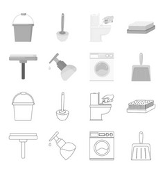 cleaning and maid outlinemonochrome icons in set vector image