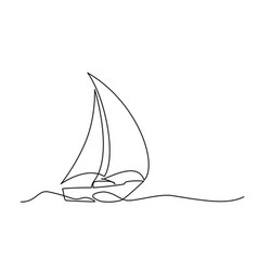 Continuous line drawing sailboat vector