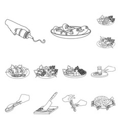 Cooking food outline icons in set collection for vector