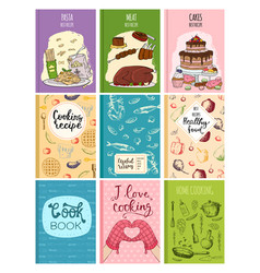 Cooking recipe books cover kitchen design cards vector