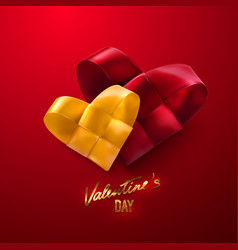 couple woven red and yellow hearts vector image