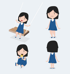 cute little girl blue dress set vector image