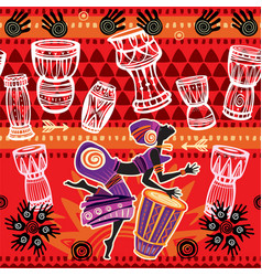 Dancing woman on ethnic background with african vector